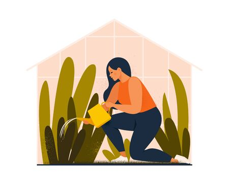 Lovely young woman or gardener taking care of home garden, watering houseplants growing in greenhouse. Flat cartoon vector illustration.