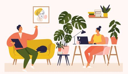 Woman and man working at desk and on sofa from home. Couple have a lot of work. Woman working with laptop at her work desk and testing ui and ux. Vector illustration of student studying at home. Ilustração