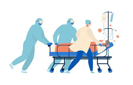 Medical workers, doctors and a nurse are running for a stretcher with an elderly patient in intensive care Resuscitation. Concept of coronavirus quarantine vector illustration