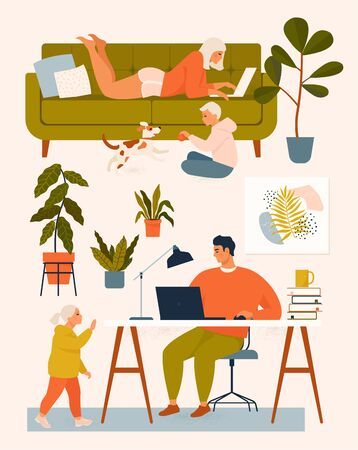 A woman on the couch, a man at the desk working at home at the computer, children play with the dog. Vector illustration. Stay at home. Illustration