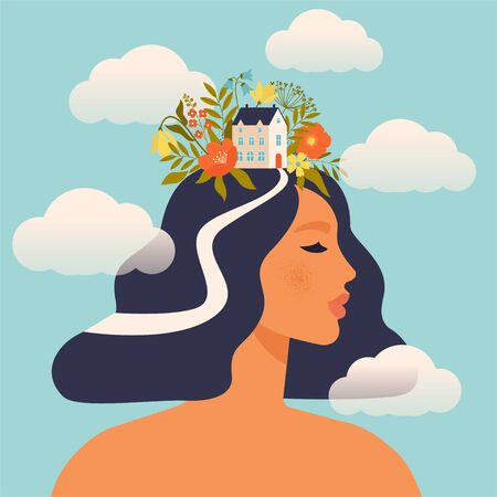 Concept about the processes of thinking of women. Creating ideas in the head, creative profession. Creative fantasy thinking vector illustration. Mechanism of the brain, thinking worker. Woman world.