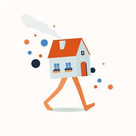Walking house real estate market.