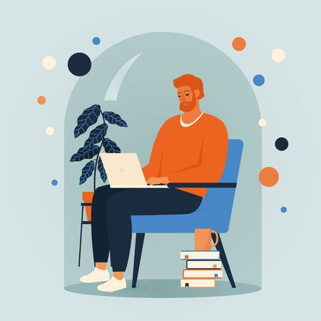Men siting in a chair and working online at home illustration. Social distancing and self-isolation during corona virus quarantine.