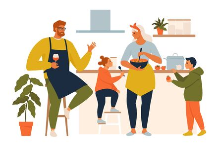 Happy family cooking. Mother and father with kids cook dishes in kitchen cartoon vector illustration. Family cooking mother, son, daughter and father on kitchen