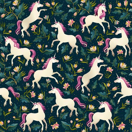 Unicorns on a dark background with a fairy forest. Seamless pattern. Illustration