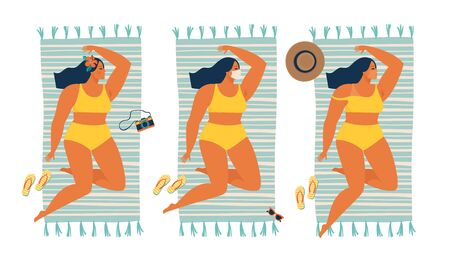 Unusual tan. Girl sunbathing in a protective mask during quarantine summer time. Vector illustration. 向量圖像