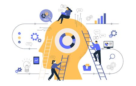 reative of business graphics, the company is engaged in joint search for ideas, abstract huge head, filled with ideas of thought and analytics, replacing old with new. Vector illustration Illustration
