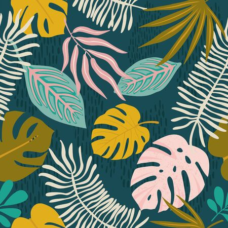 Collage contemporary floral hawaiian pattern in vector. Seamless surface design
