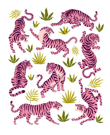 Set of pink tigers and tropical leaves. Trendy illustration.