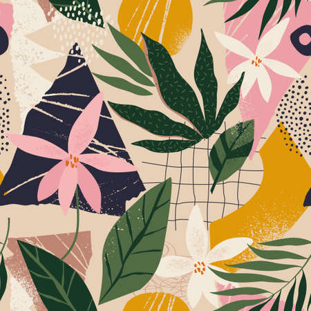 Collage contemporary floral and polka dot shapes seamless pattern.