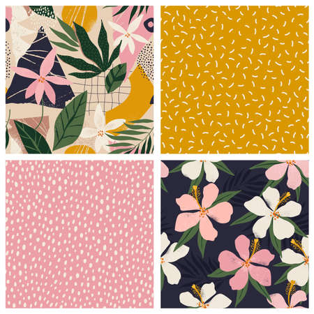 Collage contemporary floral and polka dot shapes seamless pattern set. Vectores