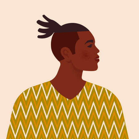 Handsome black man. Young african american. Portrait of young guy with hair. Side view. Isolated on a beige background. Vectores