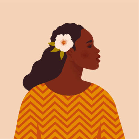 Beautiful black woman. Young african american. Portrait of young woman with beautiful face and hair. Side view. Isolated on a beige background. Ilustração