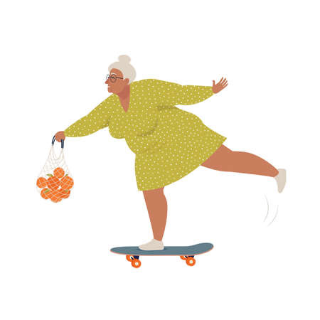 Elderly woman riding skateboard or longboard with shopping string bag. Recreational and healthy sport activities for grandmother. Flat cartoon vector illustration.