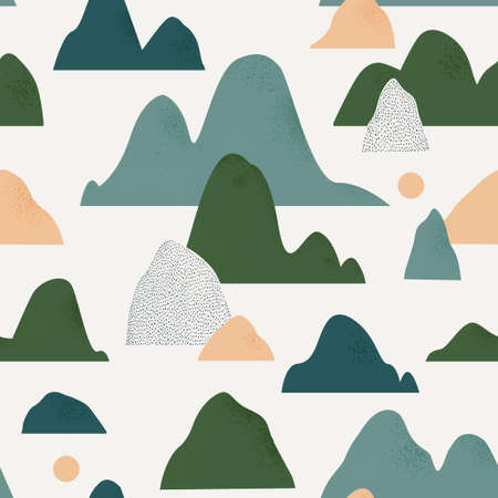 Colorful landscape with mountains and lakes. Cute abstract seamless pattern design for fabric. Perfect seamless print for home decor. scandinavian graphic illustration pattern.