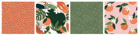 Collage contemporary orange floral and polka dot shapes seamless pattern set. Imagens - 155623834