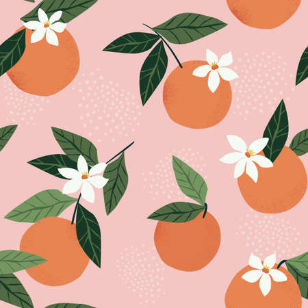 Tropical seamless pattern with oranges on a pink background. Fruit repeated background. Vector bright print for fabric or wallpaper. Ilustração