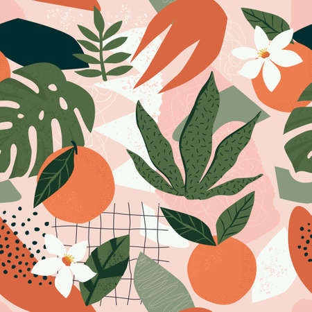 Collage contemporary orange floral and abstract shapes seamless pattern set. Modern exotic design for paper, cover, fabric, interior decor and other users. Imagens - 155623835