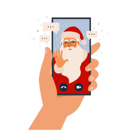 Video call Santa Claus, chatting online by mobile app. Stay at home, work, communication remotely. Hand holding smartphone. Santa calling on device screen. Internet messenger vector illustration.