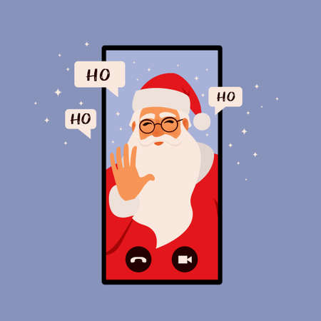 Online congratulation app, Christmas concept illustration. Smartphone with Santa Claus is calling. Flat style illustration. Imagens - 155664582