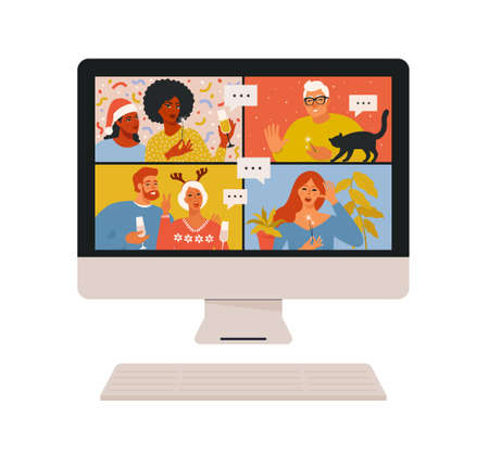 Concept of videoconference and web communication. Team meeting online. Smiling man and women work remotely and have a Christmas virtual discussion. Vector illustration in flat cartoon style.