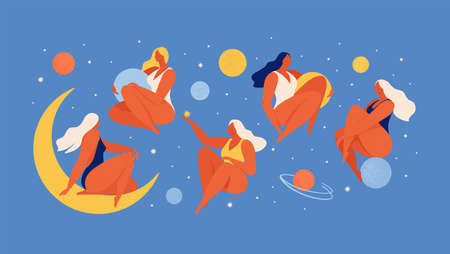 Set of people flying in space vector flat illustration. Collection of wom n holding planet with dream universe. Concept in flat graphic. Vector Illustration. 免版税图像