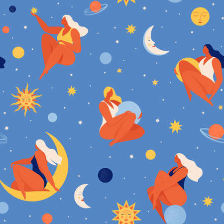 Set of people flying in space vector flat illustration. Collection of women holding planet with dream universe. Concept in flat graphic. Vector seamless pattern.