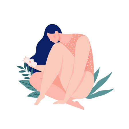 A girl bleeding hugging her leg with a pad in the menstrual period on background of leaves and plants. Eco protection for woman in critical days. Vector illustration.