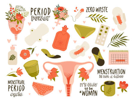 Menstruation theme. Period. Various feminine hygiene products. Zero waste objects. Panties, pads, cups. Menstrual protection, feminine hygiene. Hand drawn vector illustration. Everything is isolated. Vectores