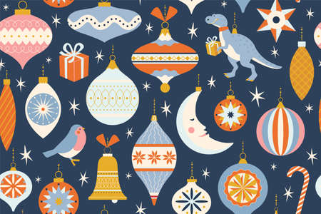 Merry Christmas and New Year card with various of Christmas toys and present in in retro mid century modern style. Winter holidays seamless pattern in vector. Vectores