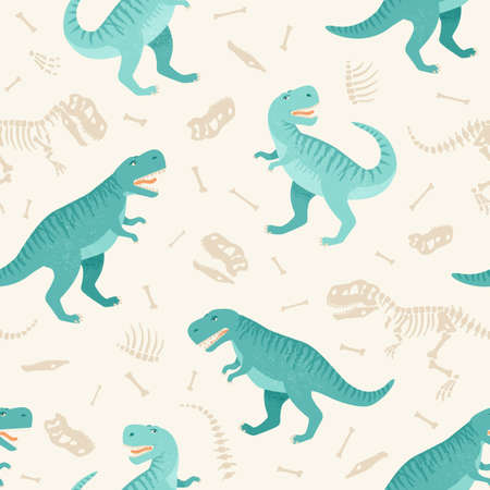 Dinosaur skeleton seamless grunge pattern.