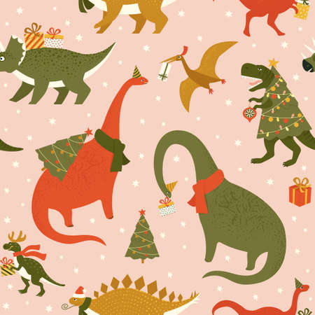 Dino Christmas Party Tree Rex. Dinosaur in Santa hat decorates Christmas tree garland lights. Vector illustration of funny character in cartoon flat style.
