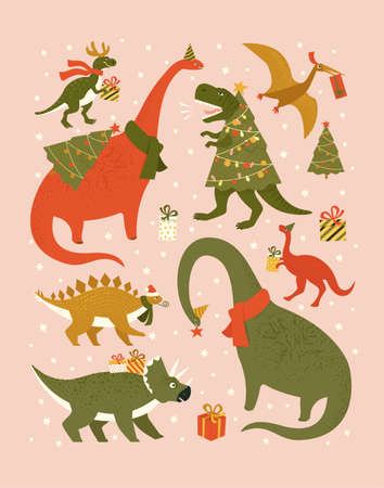 Christmas holiday set with festive dinos. Dinosaurs in Santa hat decorates Christmas tree garland lights. Vector cute winter characters.