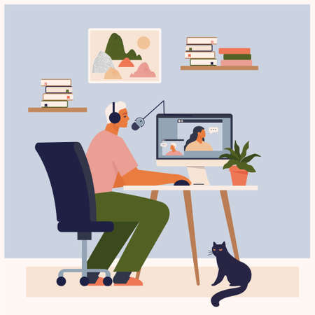 Stay at home, recording podcast show. Male radio host speaking into microphone. Podcaster making content. Social media broadcasting. Blogger workspace. Cute man sitting at table vector illustration.