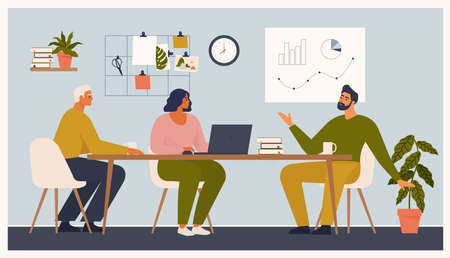 Scene at office. Men and woman sit taking part in business meeting, negotiation, brainstorming, talking to each other. Colorful vector illustration in flat cartoon style.