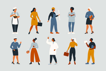 Collection of women people workers of various different occupations or profession wearing professional uniform set vector illustration.