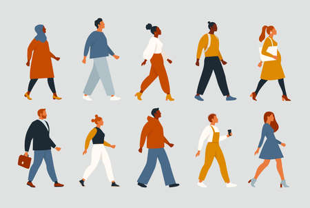 Crowd of young and elderly men and women in trendy hipster clothes. The diverse group of stylish people going together. Society, social diversity. Flat cartoon vector illustration. Vectores