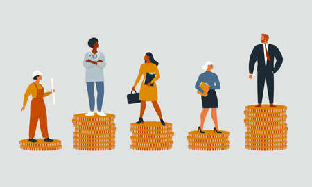 Rich and poor people with different salary, income or career growth unfair opportunity. Concept of financial inequality or gap in earning. Flat vector cartoon illustration isolated. Illustration