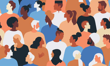 Crowd of young and elderly men and women in trendy hipster clothes. Diverse group of stylish people standing together. Society or population, social diversity. Flat cartoon vector illustration.