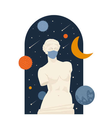 Female Antique statue. Museum of the pandemic lockdown ovid time. A woman without hands. Mythical, ancient greek style. Hand drawn Vector illustration. Classic statue in modern style.