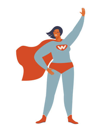 Superhero woman character. Wonderful female hero character in superhero costume with waving cape disguise. female in muscular pose, game figure. Super girl cartoon vector isolated. Vectores