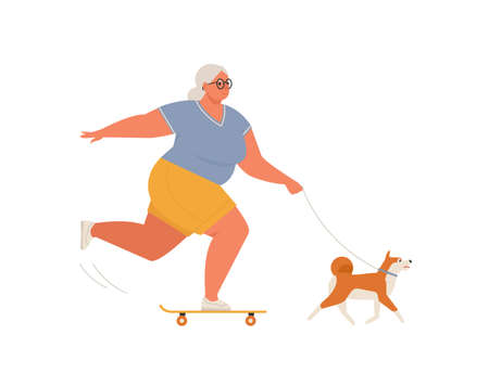 Elderly woman riding skateboard or longboard with dog. Recreational and healthy sport activities for grandmother. Flat cartoon vector illustration.
