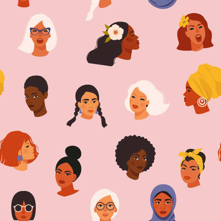 Diverse women face seamless pattern with different culture girl portrait in a hand-drawn style.