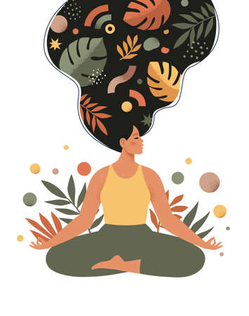 Mindfulness, meditation and yoga background in pastel vintage colors with women sit with crossed legs and meditate. Vector illustration.