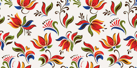 Seamless floral pattern with bright colorful flowers and tropic leaves on a white background. The elegant the template for fashion prints. Modern floral background. Trendy Folk style. Vectores