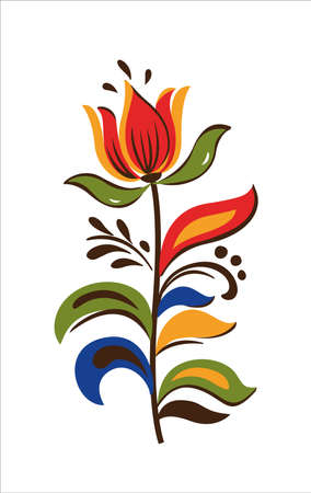 Vector Oriental motif of flowers. Original Floral design with of a woody vine with exotic flowers, tropic leaves. Tree of life Colorful flowers on a white background. Folk style.