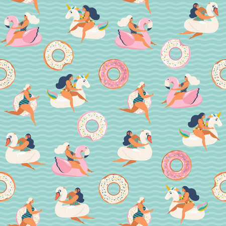 Flamingo, unicorn, swan and sweet donut inflatable swimming pool floats. Vector seamless pattern. Vectores