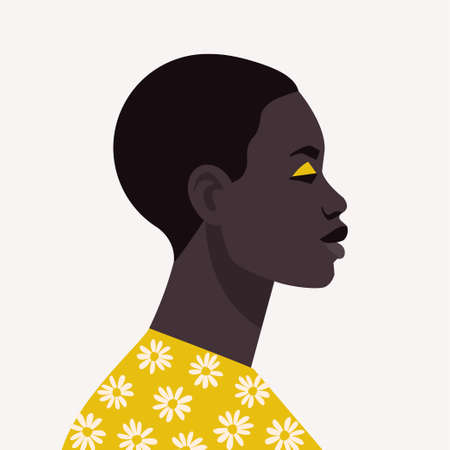 Young african woman with short hair. Portrait of beautiful african woman. Abstract female portrait, full face. Stock vector illustration in flat style. Vectores