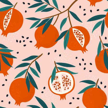 Pomegranate leaf seamless pattern. Red garnet seamless pattern vector illustration. Vector illustration of pomegranate fruit. Garnet vector Vectores