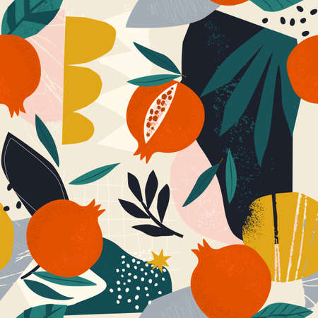 Collage contemporary floral seamless pattern. Modern exotic jungle fruits pomegranate various doodle shapes, spots, drops, and plants illustration vector